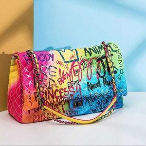 Neon Rainbow Large Graffiti Travel Vegan Bag